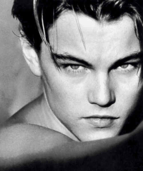 black and white pic of leonardo dicaprio's face looking fierce