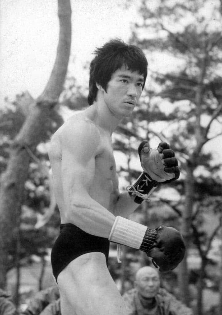 Bruce Lee with boxing gloves