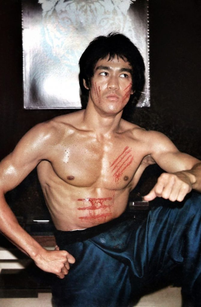Bruce Lee with battle wound scratches