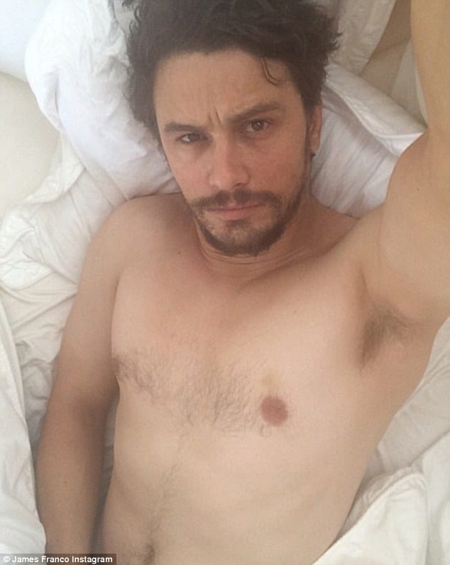 james franco naked in his bed grabbing his crotch taking a selfie