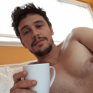 celebrity james franco taking a nude selfie while drinking coffee
