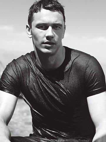 sexy james franco black and white photo all wet