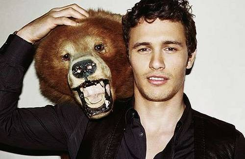 hot photo of james franco with a bear on his shoulder