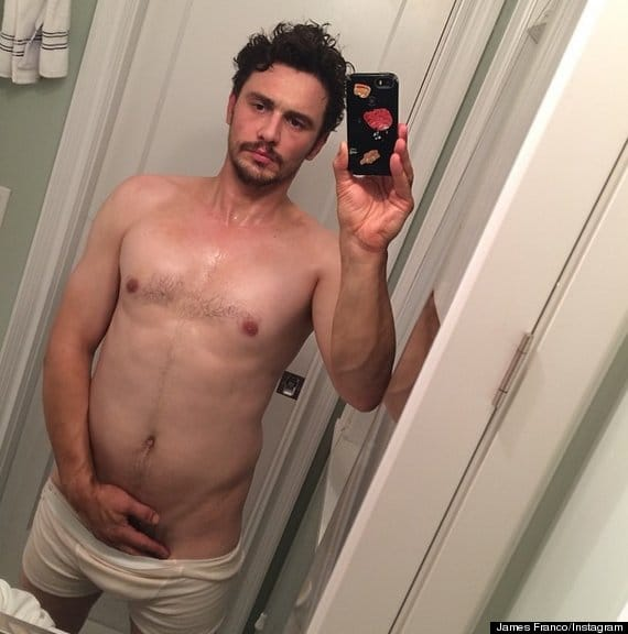 half naked james franco taking a seductive selfie with his hand on his cock and boxers pulled down