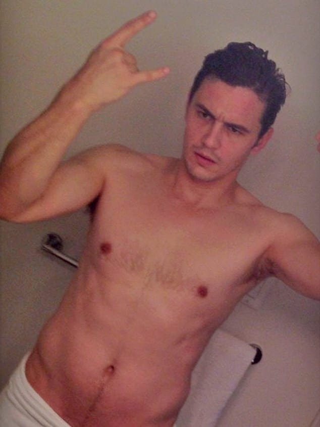 half nude james franco taking a mirror selfie and showing his happy trail hair