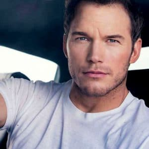 Chris Pratt handsome white t-shirt