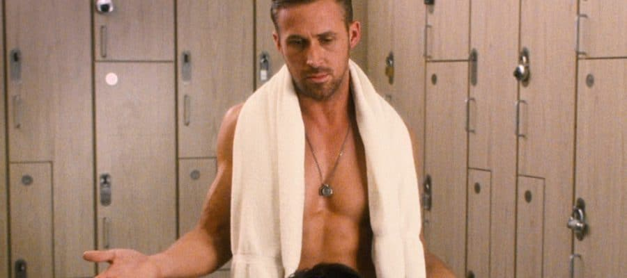 Ryan Gosling's crotch with towel around his neck in locker room