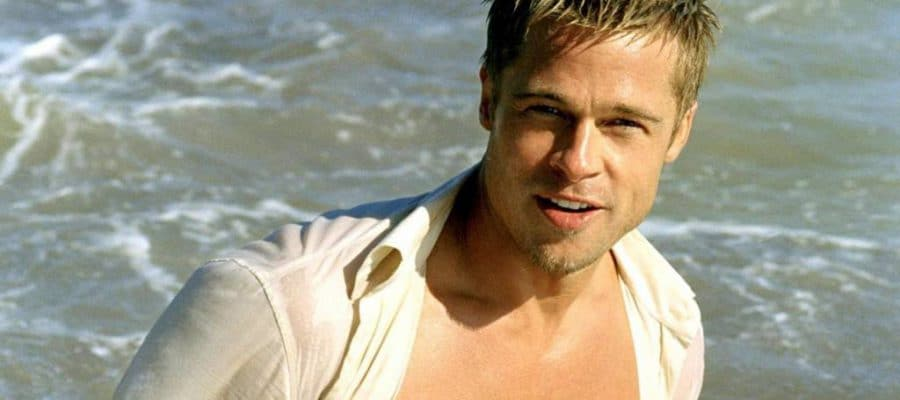brad pitt looking hot with white shirt open and showing his chest