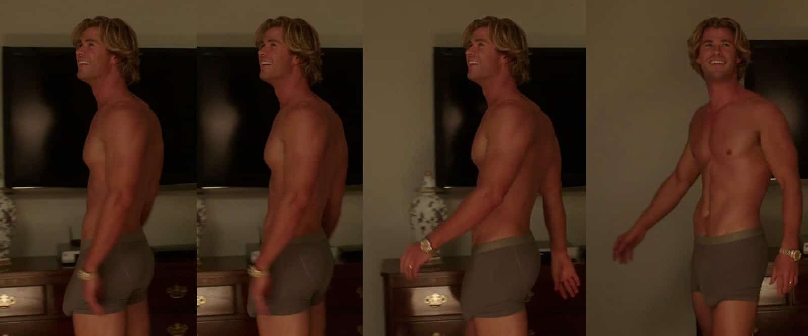 Chris Hemsworth cock in boxers exposed