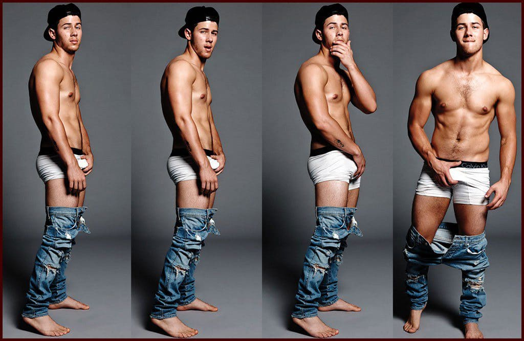 Nick Jonas in Flaunt Magazine grabbing his bulge