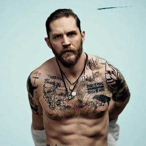 celeb tom hardy with shirt off and abs showing