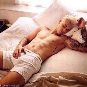 celeb justin bieber in his calvin kleins