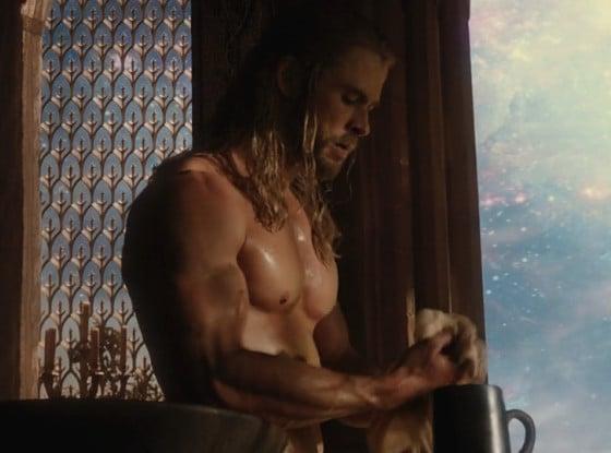 shirtless Chris Hemsworth in Thor