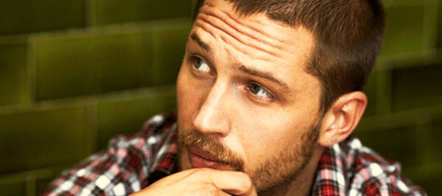 tom hardy sexy pic of him with plaid shirt and looking pensive