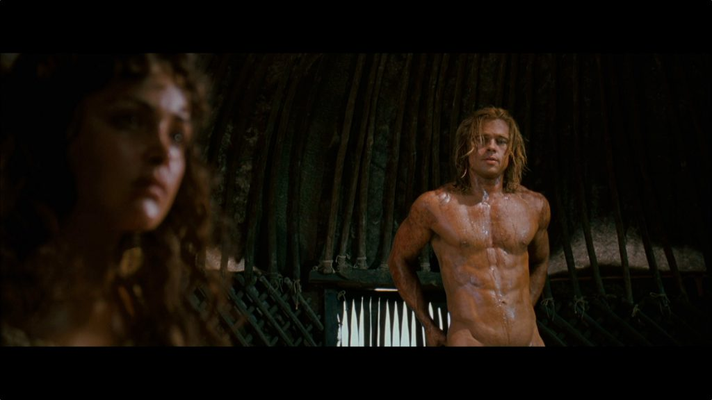 gorgeous actor brad pitt naked in movie scene showing off his abs