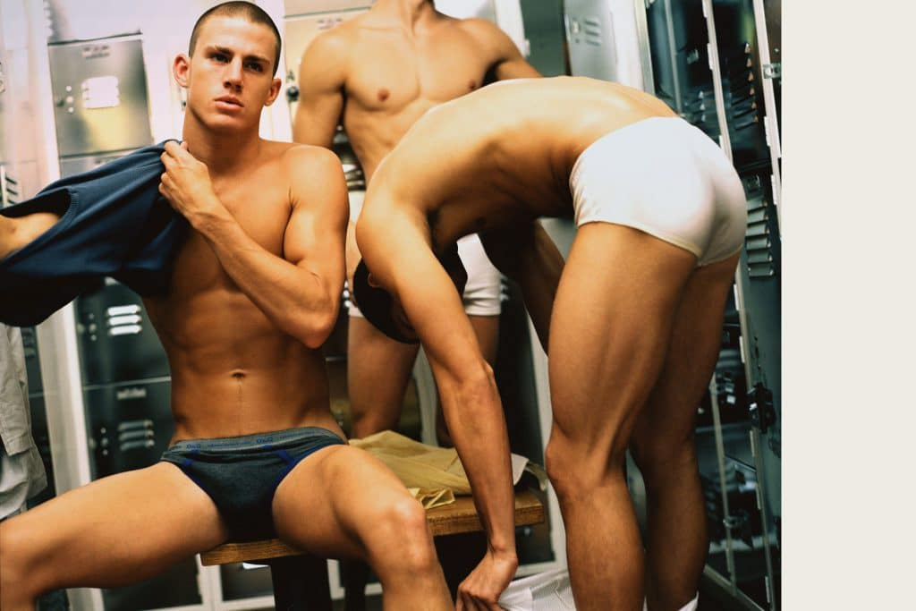 Channing getting dressed in the locker room