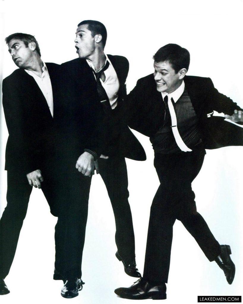 George Clooney, Brad Pitt and Matt Damon black suits