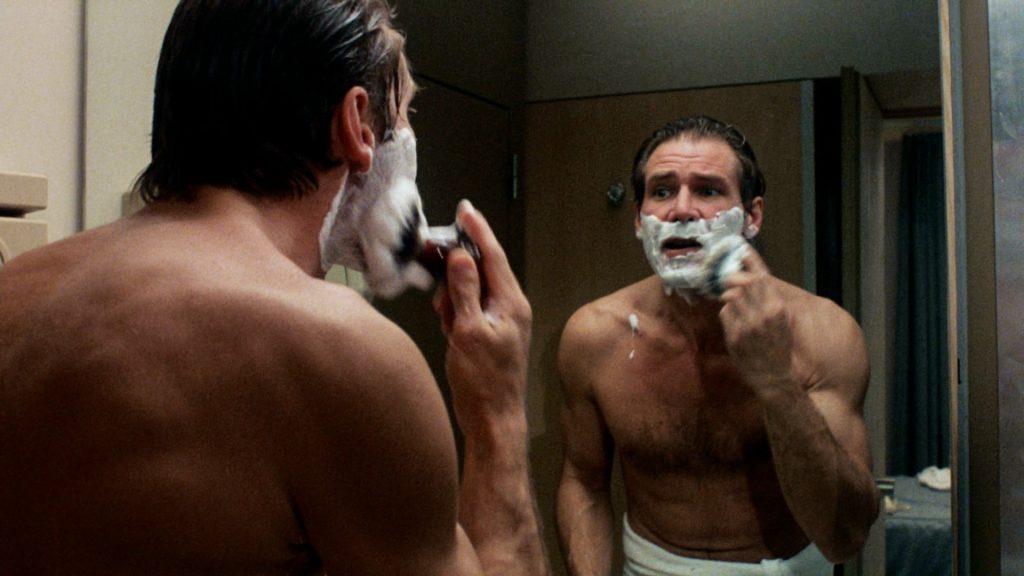 Harrison Ford shaving shirtless