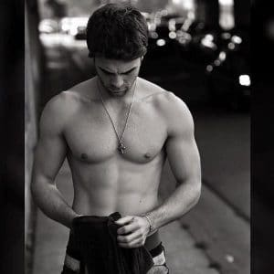 sexy pic of nathaniel buzolic shirtless black and white looking down