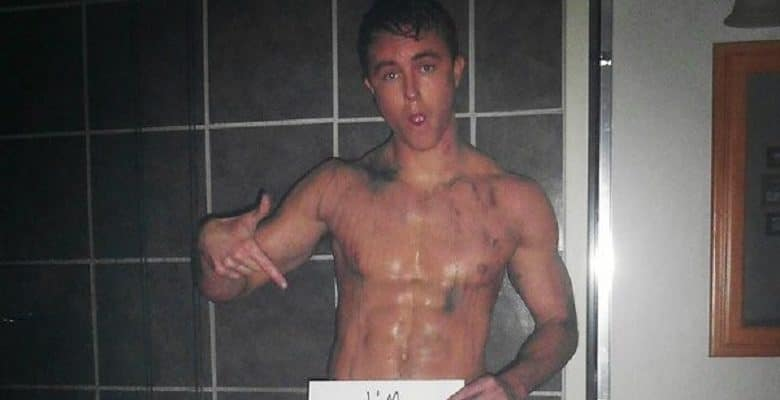 Ryan Kelley nude - Teen Wolf Actor with sign that says he is naked again