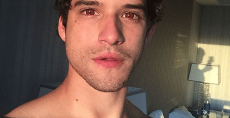 sexy pic of tyler posey shirtless in selfie with red eyes