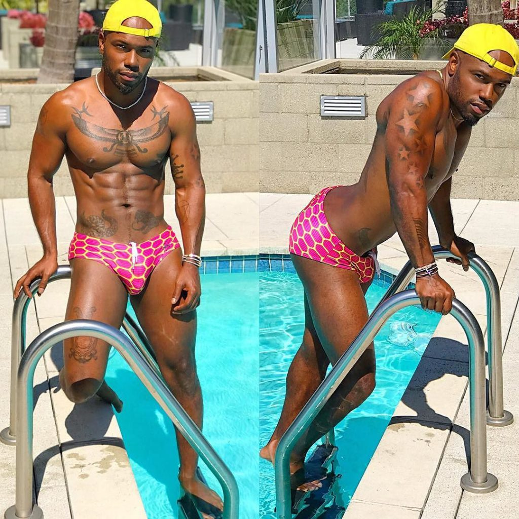 looking ripped at the pool