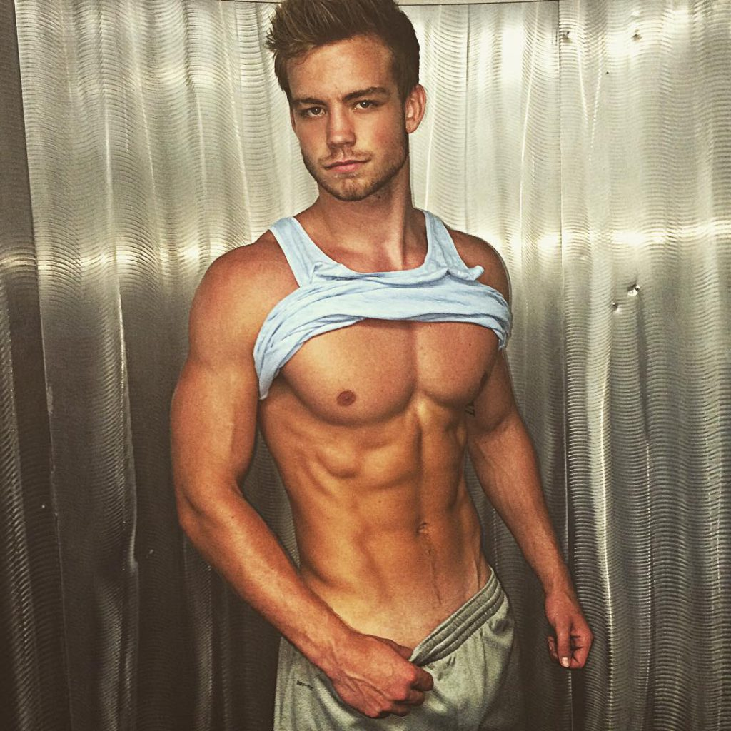 Dustin McNeer hard abs and sweats