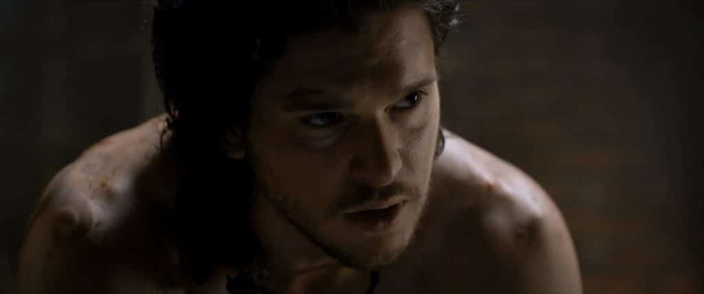Kit Harington upclose shirtless Pompeii scene
