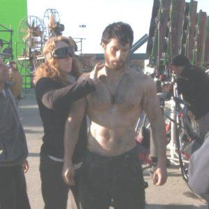 Henry Cavill on set