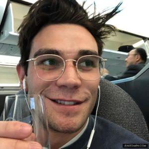 KJ Apa airplane selfie