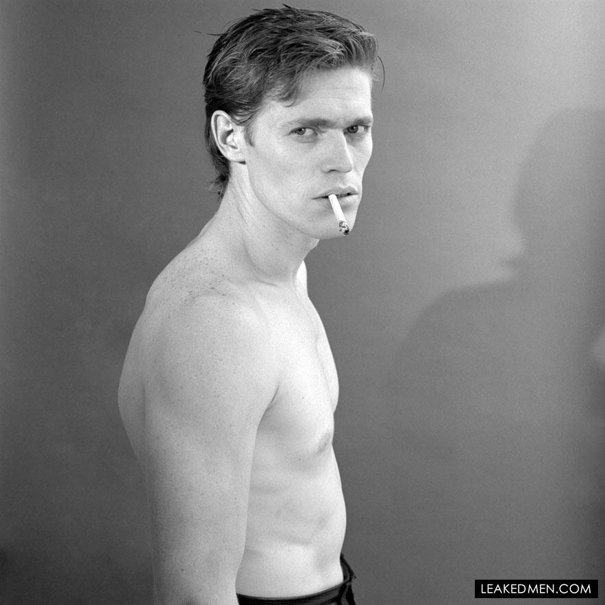 Willem Dafoe sexy shirtless smoking cigarette